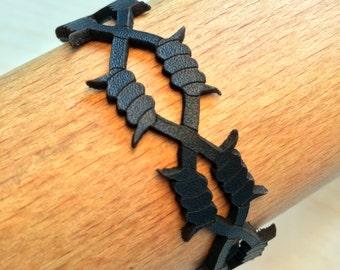Laser cut Barbed Wire Leather Bracelet