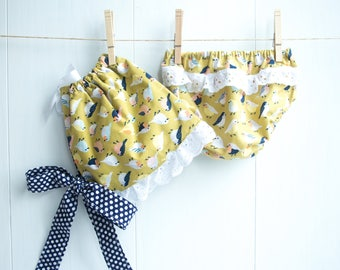 Sweet Little Birds Bonnet Set-Baby Girl Bonnet Set-Ruffled Bonnet and Bloomers-Ruffled Diaper Cover-Mustard Yellow and Navy Blue-Polka Dots