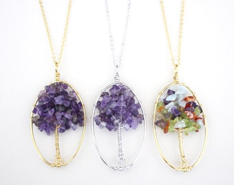Tree of life, Gold, Silver, Multi color, Necklace, Beautiful, Tree, Amethyst, Necklace, Birthday, Friendship, Mom, Sister, Gift, Jewelry