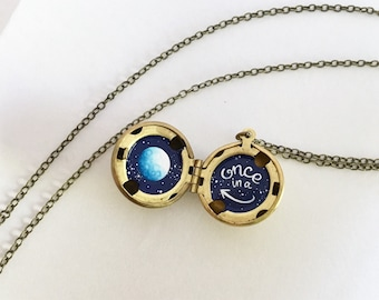 Once in a Blue Moon Locket, Hand-painted in Oil Enamel, Water-Marked Locket