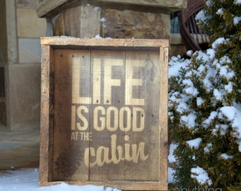 Personalized Life is Good at the Cabin Rustic Reclaimed Wood - Wood Sign with your Family Name Lake or Mountain Cabin