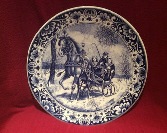 Delfts Blauw Chemkefa Sleigh and Horse Scene Wall Plate appx 29cm diameter
