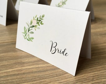 Greenery Wedding Place Card / Escort Cards -  On white card with watercolour foliage print