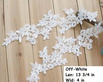 Off-white Alencon lace Applique/Boho Wedding Dress/Lace Wedding Dress/Prom Dress/Evening Dress/Bridal Applique for a pair of two/ALA-71