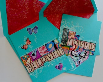 Set of 2 Valentine Greeting Cards, Hand made Greeting cards.