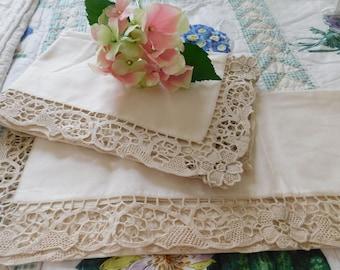 Gorgeous Ecru Lace Pillowshams(2) *Paris Apt. Chic*