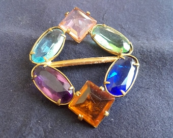 ART DECO BUCKLE 6 stunning glass stones in amber, sapphire, amethyst, aquamarine, green & pink. Antique from turn of the century