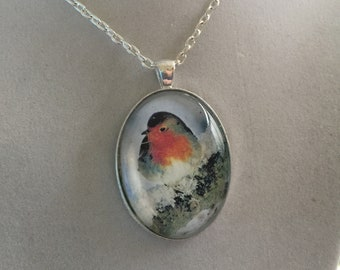 Irish Robin Pendant Silver Necklace