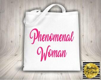 Phenomenal Woman Tote Bag - Feminist tote - feminism - black and pink - girl power -maya angelou - african american - black women -  history