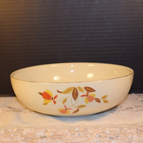 Halls Superior Quality Kitchenware Autumn Leaf Salad Bowl 2 QT Vintage Hall Salad Serving Bowl Jewel T Autumn Leaf Replacement China