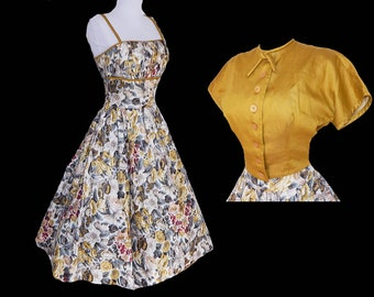 Vintage 50s L'Aiglon French floral cotton garden party dress with bolero