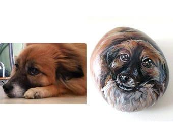 Custom Pet Stone, Animal Portrait, Hand Painted Rock Art, Keepsake Gift, Dog Owner, Cat Painting, Pet Memorial, Paperweight, Personalized
