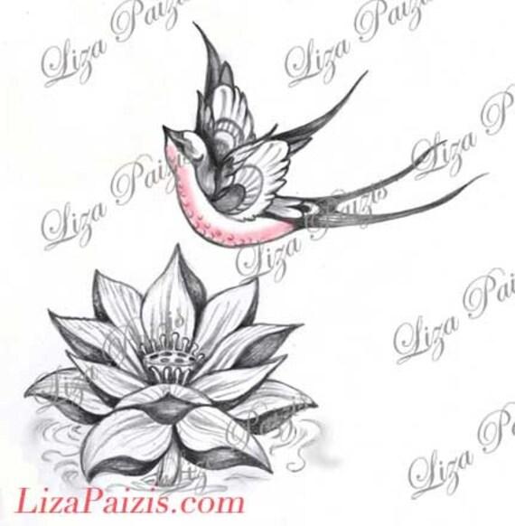 lotus et hirondelle tatouage conception lotus rose fleur. Black Bedroom Furniture Sets. Home Design Ideas