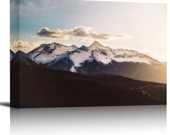 Snow Capped Mountain Sunset Art Print Wall Decor Image - Canvas Stretched Framed