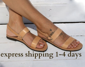THALIA sandals/ Greek leather sandals/ summer sandals/ ancient grecian sandals/ strappy sandals/ slingback sandals/ natural beige sandals
