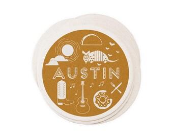 Austin Texas - Letterpressed City Paper Coasters