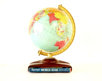 """Vintage Replogle Reference World Globe with Atlas, 10"""" diameter (c.1954) - Hard to Find Collectible, Home Decor"""