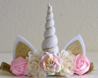 Pink Ivory Pastel Color Unicorn Headband - White Horn - Gold Horn - Adult - Toddler - Baby - Girl - First Birthday