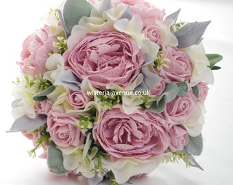 Large Artificial Blush Pink, Ivory and Grey Bridal Bouquet