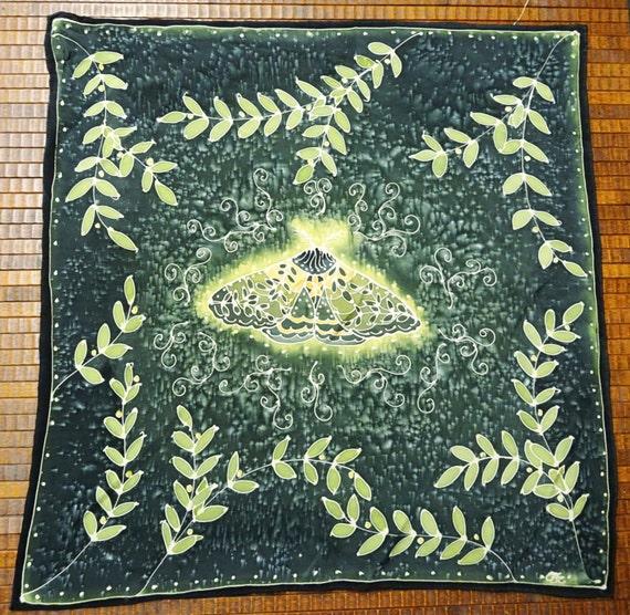 Forest Green & Gold Moth Spirit Animal Hand Painted Silk