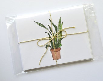 Houseplant Illustration Cards, Botanical Notecard Set, Houseplant Notecard Set, Plant Notecards, Watercolor Gift Idea, Potted Plants