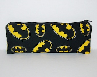 """Padded Pipe Pouch, Batman Pipe Case, Pipe Bag, Superhero Pouch, Padded Pouch, Stoner Gift, Vape Pen Case, Nerd, Smoke Accessory - 7.5"""" LARGE"""
