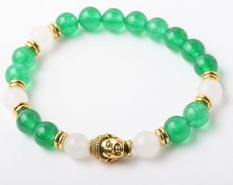 Bracelet de Jade, Bracelet bouddha, bracelet yoga, bracelet de méditation, Bracelet en pierre, cadeau, bracelet pierre verte, jade, quartz