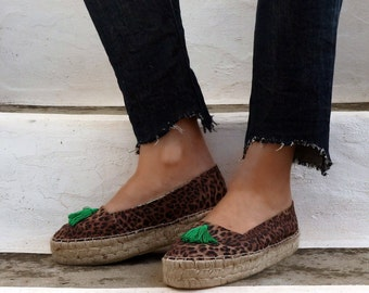Leopard Print Espadrilles with Tassels. Summer Flat Shoes. Handmade Greek Sandals. Boho Women's Shoes. Gift for Her. Alpargatas