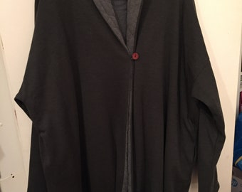 TEHEN 90's Paris Loden Green Size 2 (M) Wool Swing Coat Gray Cotton Lining-Very Good Condition!