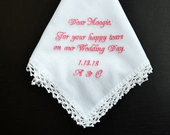 Made of Honor gift, Bridesmaid handkerchief, Bridal Party Handkerchief, For Happy Tears, Personalized wedding hankerchief, Bridal Gifts