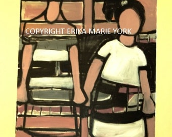 "Lonely Girls Original Painting by Erika York 24"" by 36"" Canvas"