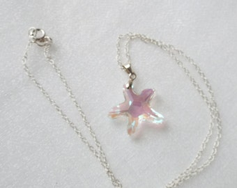 Swarovski Crystal Starfish pendant with Sterling Silver bail and chain