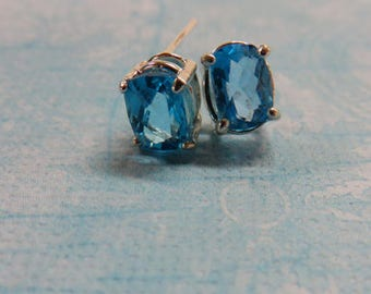 Topaz Earrings - Blue Topaz Post Earrings - Precious Topaz and Sterling Silver Post Earrings