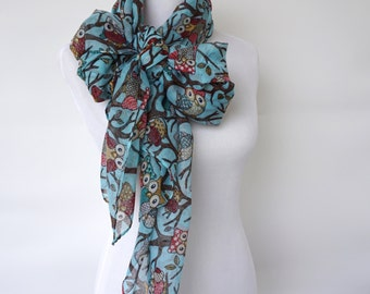 Owl Print Scarf, Blue Womens scarves, Wearable Art, Fashion Accessories, Spring Fashion Scarf, Boho Scarves, Romantic Gifts For Her