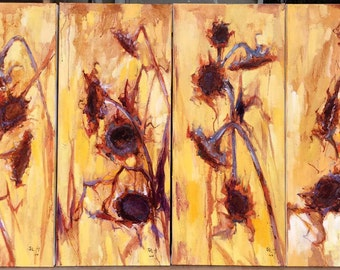 4 panels of sunflower painting 175