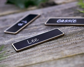 100 Chalkboard Name Tags, Chalkboard Name Badges, Reusable Magnetic Business Name Tags, Reusable Work Name Tags for Meetings and Events