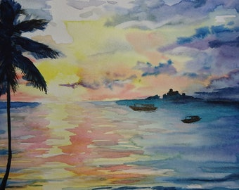 Sunset palm beach seaside A3