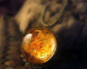 Vintage Orange Dandelion Pendant: Make A Wish Seed glass orb beadwork bronze Flower retro Sun  Botanical