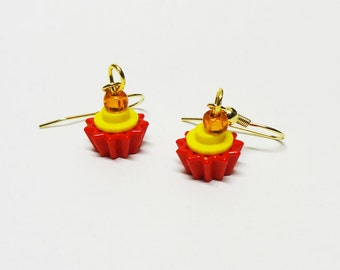 Mini Yellow and Red Cupcake Dangle Earrings