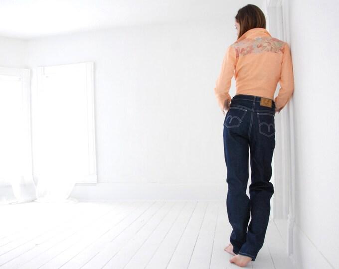 Vintage high-waist jeans, blue denim pants S M 31 long, Rough Rider