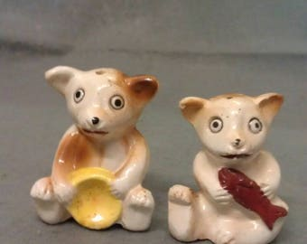 Tan and Beige Bears with Fish and Pan Salt and Pepper Shaker Set