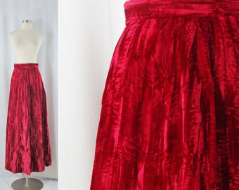 Vintage Sixties Red Crushed Velvet Maxi Skirt - 60s Long A-line Skirt - Small Maxi Skirt - Holiday Party Skirt