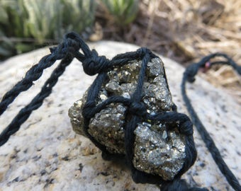 Pyrite Black Hemp Wrapped Macrame Crystal Adjustable Necklace
