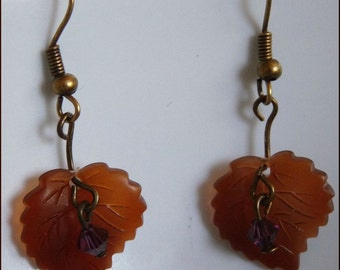 Leaf Peeping Time Earrings  Fall Brown Lucite Leaves, Purple Swarovski Crystals and Antiqued Brass