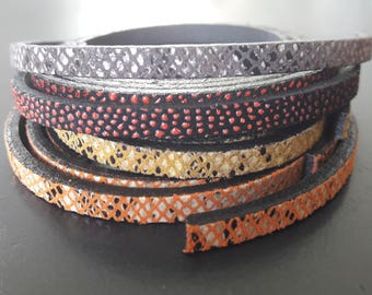 high quality European snake effect 5 mm flat leather strap