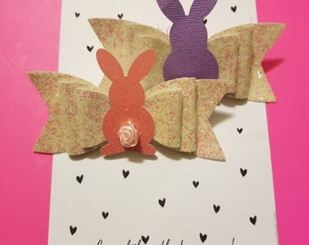 Girls easter bunny hair clip