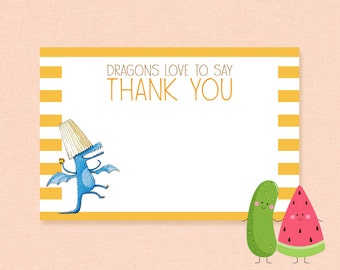 Inspired Dragons Love Tacos   Thank You Card   Thank You Note   Birthday   DIY