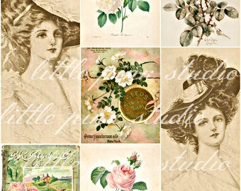 Pale Ladies and Roses,  Printable Collage Sheet (digital download, printable)