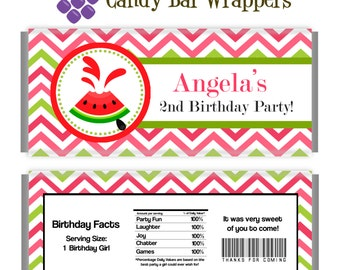 Watermelon Candy Wrapper - Pink, Lime Green Chevron, Summer Watermelon Personalized Party Favor Candy Bar Wraps - A Digital Printable File