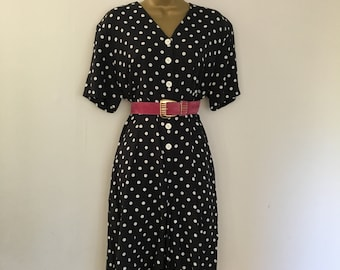 Retro vintage rockabilly navy white polka dot spotty jumpsuit collates shorts romper play suit size 12-14